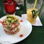 Tabouli, avocado and tomato salad and fresh juice.