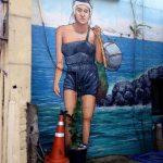 Mural of women diver.