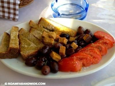 Delicious food at Rousios. Agia Roumeli.
