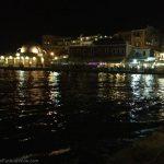 Chania's harbor at night.