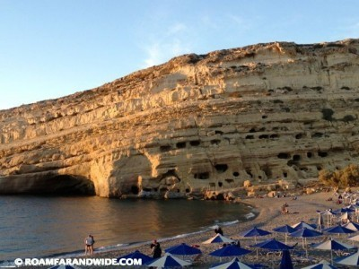 The beach and caves of Matala.