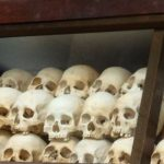 Victims skulls in the temple at the Killing Fields