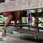 Weaver's feet. Koh Dach, Cambodia