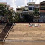 Drying clothes on the riverbank in Phnom Penh