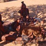 Himba women doing hair
