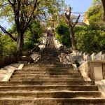 The steep stairs to the Monkey Temple.