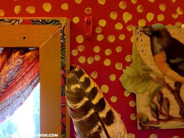 The bathroom and the feather of the deceased turkey.