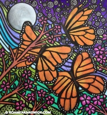 Butterflies and Moon. Original artwork by RFAW. Copyright 2015.