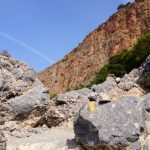 Towering cliffs above