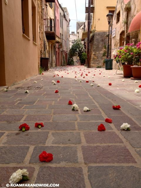 Photo of carnation flowers in the street of Chania's old town for name day.