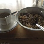 Breakfast of muesli and coffee