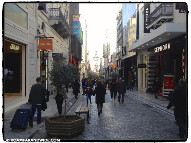 Ermou Street in Athens, Greece.