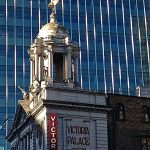 Victoria Palace and modern building.