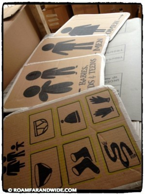 Making signs for the clothing warehouse with very limited resources.