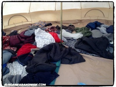 Blankets in one tent.