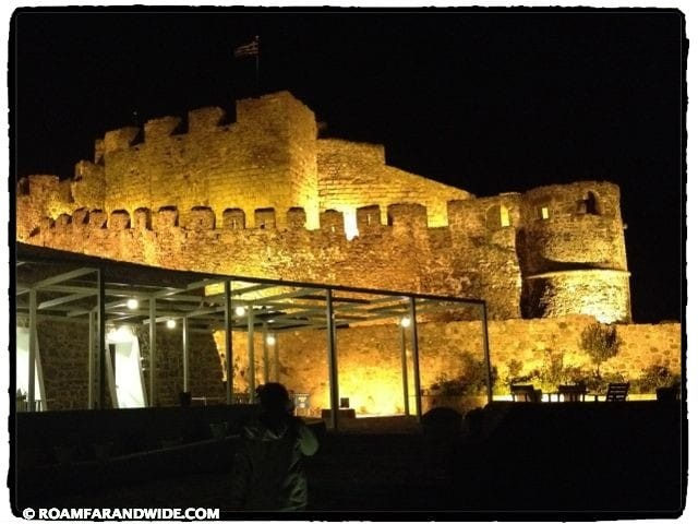 The Molivos Castle at night.