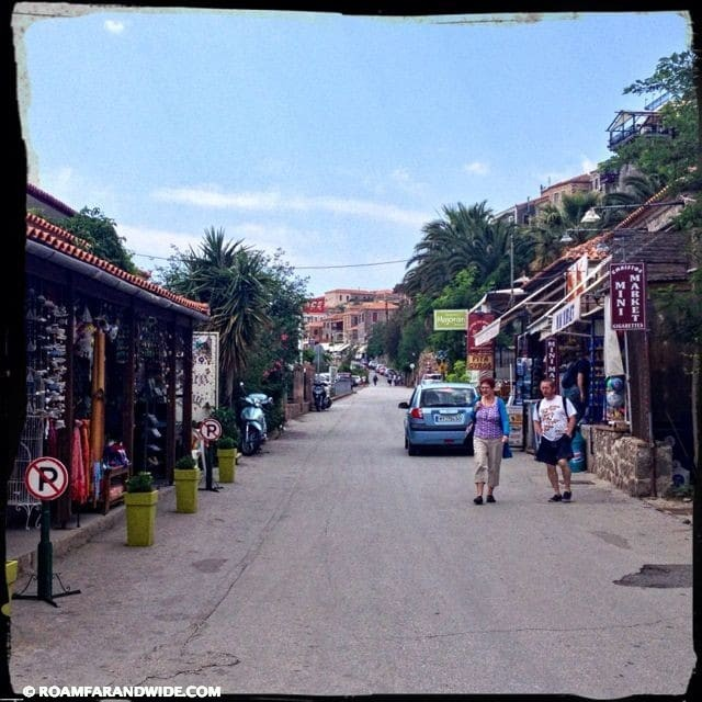 The main street of Molyvos, Greece is quiet and perfect for strolling.