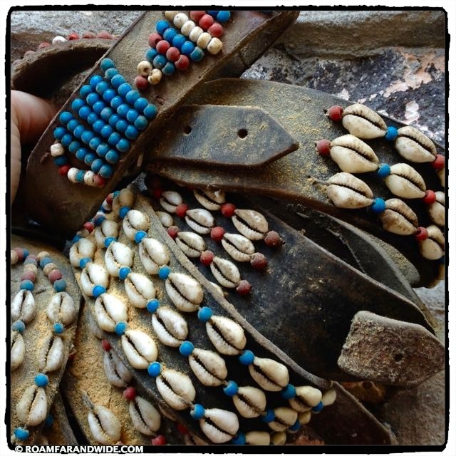 Antique Lesvian Sheep Collars with Beads and Cowrie Shells